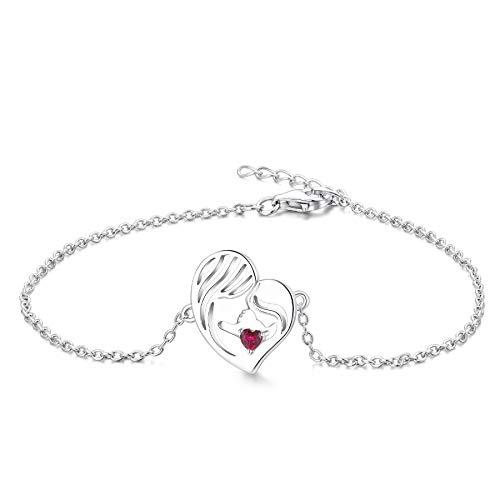 YL Pulsera Madre e Hija Plata de Ley 925 Pulsera de Corazón de Rubí Cortada para Mamá Mujer, Cadena 18-20CM