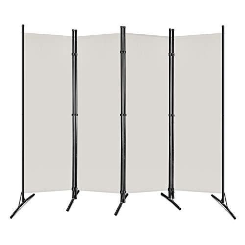 HENGMEI Paravent Sichtschutzwand Raumteiler Stellwand Raumteiler Trennwand Sichtschutz (205x180cm, 4 Teile), Beige