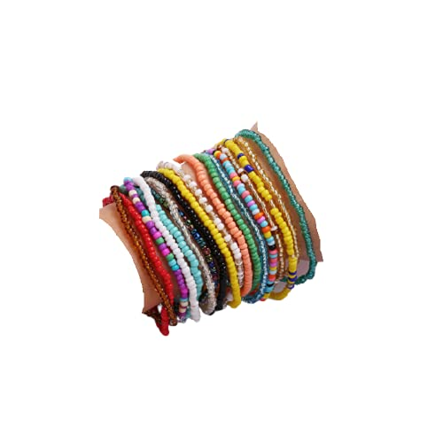 Shymuh 18 Pcs Boho Handmade Beads African Anklets Bracelet Colorful Stretch Ankle Bracelets Set Elastic Foot Chain Jewelry Cute Colorful VSCO Friendship Beaded Anklets Hand Chain Jewelry