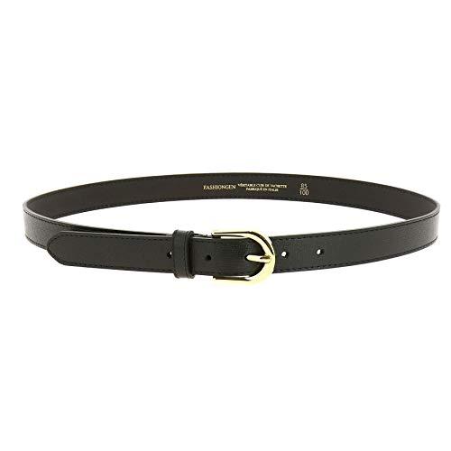 FASHIONGEN - Cintura donna in Vera Pelle italiana di alta qualità e duratura, fatto in ITALIA, MELANIE - Nero (Oro), 105