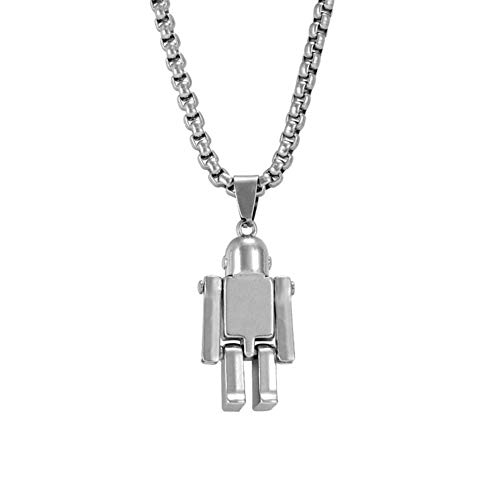 Persönlichkeit Hip-Hop Hipster Roboter Halskette Arme und Beine können Roboter Astronaut Anhänger Pullover Zubehör bewegen Brautschmuck (Color : Black)