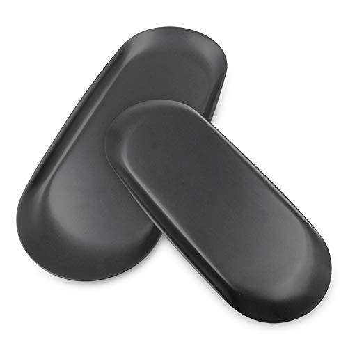 2Pcs Bandeja de Almacenamiento Ovalada de Acero Inoxidable Bandeja de Toallas Joyería Almacenamiento Organizador Plato para Maquillaje Perfume Aperitivos Para Anillos Pendientes Pulseras (Negro)