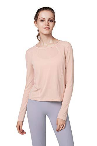 Leisofter - Camiseta de deporte para mujer, corte holgado, yoga, pilates, ropa de deporte, camisas de deporte, manga larga, cuello en V y cuello redondo rosa 34