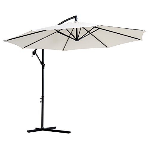 Outsunny Sonnenschirm Ampelschirm Kurbelschirm mit Handkurbel Rund, Stahlbogenstäbe und Stahl-Stehstäbe, Polyestergewebe, Creme, Ø3 x 2,5H m