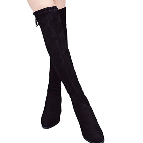 Geili Damen Stiefel Overknees mit Blockabsatz Übergrößen Freizeit Stretch Wildleder High Heels Langschaft Boots Frauen Elegante Schnüren Zip Hohe Kniestiefel Stöckelschuh