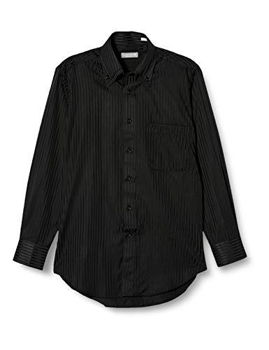 [ドレスコード101] 形態安定加工 ワイシャツ ビジネスでも カジュアルでも かっこよくきまるシャツ 長袖 豊富なサイズ レギュラー ボタンダウン ワイドカラー SHIRT-000 メンズ 52 ブラックストライプ Z049 首回り39cm裄丈82cm Slim