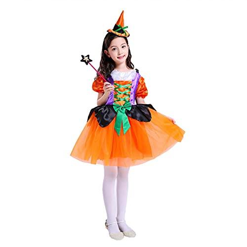 YWLINK Niñas Disfraz Bruja Infantil VestidoTutú Princesa Lentejuelas Estrellas+Sombrero+Bolsa de Dulces+Varita mágica Carnaval Halloween Cosplay Accesorios