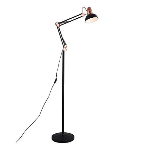 GLXLSBZ Modern Floor Lamp, Collapsible Metal Floor Lamps for Living Room, E27 Lamp Holder Adjustable Reading Lamp Desk Lamp for Black