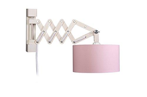 Waldi Leuchten Wandleuchte Schere, innen gold mit Schalter, rosa WAL-82618.0