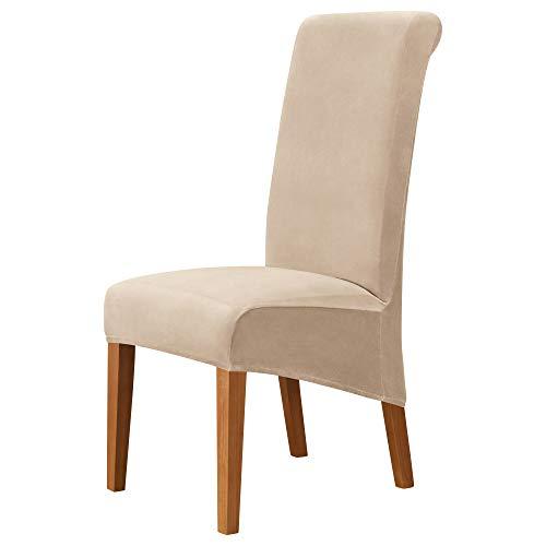 MILARAN Velvet Large Chair Covers für das Esszimmer, Soft Stretch Seat Slipcover für den Large Dining Chair, waschbarer, Abnehmbarer Parsons Stuhlschutz(4 Stück,Beige)