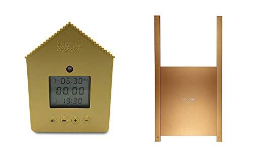 Titan Incubators Abrepuertas automático para gallinero con Sensor Luminoso con Temporizador Y Puerta metálica