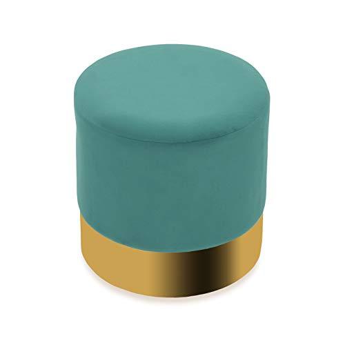 Versa 21351156 Pouff rotondo Verde, Tessuto metallico e vellutato, 35 x 35 x 35 cm