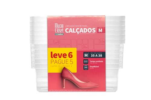 Conjunto de 6 Caixas para Sapato, Shoe Box, 19x31x28 cm, Cristal, Ordene Br