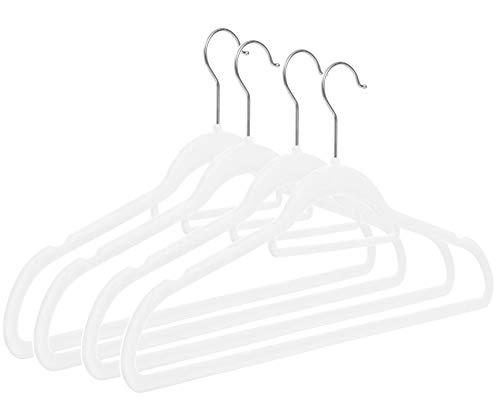 RSR Hangers Kleiderbügel mit Krawattenhalter Inklusive Platzspar Haken (Weiß, 50)
