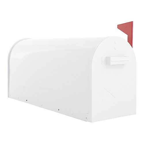 Rottner Briefkasten Mailbox Weiß, US Standardgröße, Postkasten, Stahlblech, Fahne, Ständermontage, Postmelder