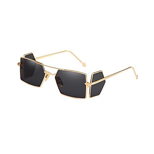Heigmztyj Sunglasses, Gafas de Sol de Marco de Metal, adecuadas para Viajes, Tiendas, Fiestas de Playa, barbacoas al Aire Libre para Usar, con Parabrisas y Escudos Laterales. (Color : Gold)