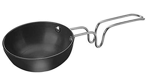 Star Tadka/Fry Pan, Oil Heater Karandi Hard Black Anodized with Handle Vagaria - Dimensions - 10.00 cm Diameter, Overall Length is 27 cm, 4.5 cm Depth, Capacity of 200ml - 1Nos