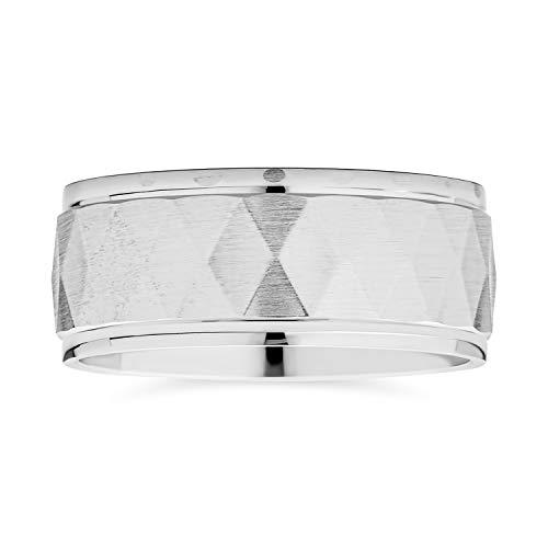 Modern modern geométrico personalizado unisex parejas diamante corte multi facetado prisma patrón anillo de boda cepillado acabado .925 plata de ley 8MM de ancho personalizado grabado