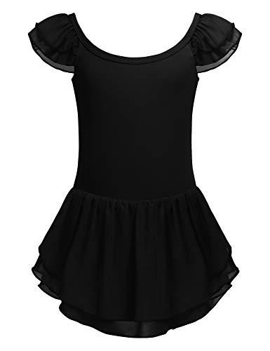Bricnat Mädchen Ballettkleidung Kinder Kurzarm Ballettanzug Ballettkleid aus Baumwolle Ballett Trikot Turnanzug Kurzarm Tanzkleid mit Tütü Rock Schwarz 160