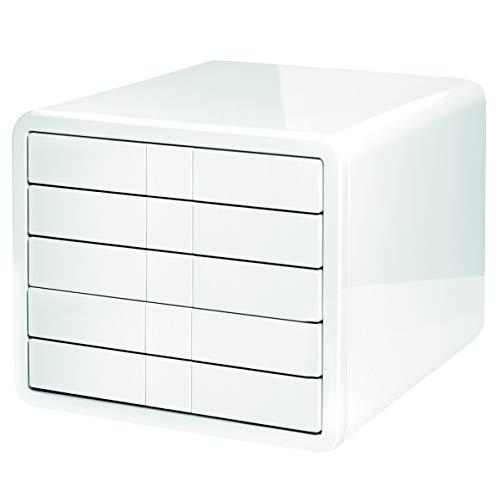 HAN Schubladenbox i-Box – High-End Schreibtischbox mit 5 Schubladen für Formate bis A4/C4. Die ultimative Designbox für das moderne Büro, weiß, 1551-12