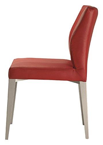 Gourmet silla metálica de diseño cromada tapizada piel natural gran confort y ergonomía para comedor o hostelería de lujo. 1 unidad