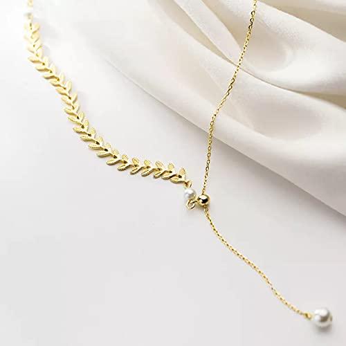 N/A Regalo Pendente per Collana da Donna Collana con Ciondolo con Perle di spighe di Grano per Collana daSposa di Lusso di Modaper Donna