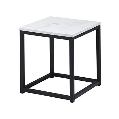 Mueble Cosy Facto End Marble R1 Auxiliar Mesa Baja/anguladora para salón, Estructura de Metal y Parte Superior en decoración de mármol y Negro, Estilo Moderno, 35 x 35 x 40 cm