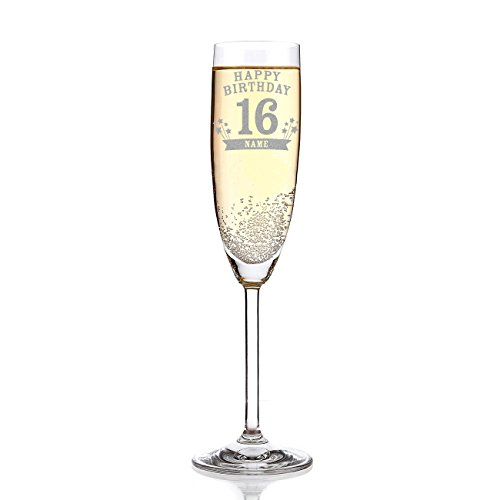 Leonardo Sektglas mit Wunschname zum 16. Geburtstag inkl. Gratis Gravur