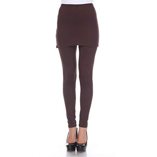 white mark Women's Full Length Skirted Leggings Yoga Pants - Coffee Brown - Small