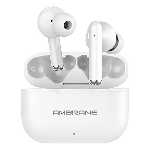Ambrane Dots 38 True Wireless Earbuds TWS with Pure HD Bass, 16H Playtime, IPX4 Waterproof, Responsive Touch Sensors for Multifunctions, Compact Type-C Charging Case (White), Normal