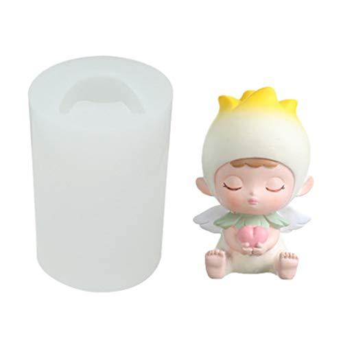 MIAOJI Molde de Vela, 3D Angel Baby Molde de Vela de Silicona para Fondant Chocolate Candy Jabón Molde de Pastel Baby Shower Fiesta de cumpleaños Decoración-Estilo A
