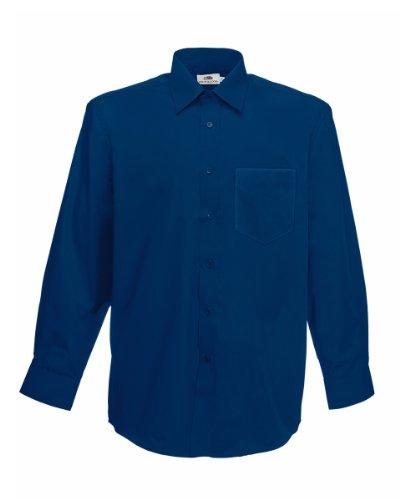 Fruit of the Loom Poplin Hemd für Männer, Langarm (3XL) (Marineblau)