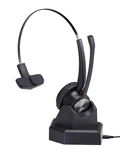 Wireless Headset with Noise Cancelling Microphone for Bluetooth Office Home Phone Communication Over The Head Trucker Headset Wireless Headphone for Call Centers Cell Phone iPhone