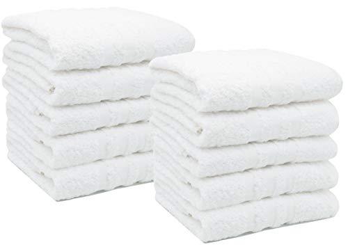 ZOLLNER 10er Set Handtücher, 50x100 cm, 100% Baumwolle, 550g/qm, weiß