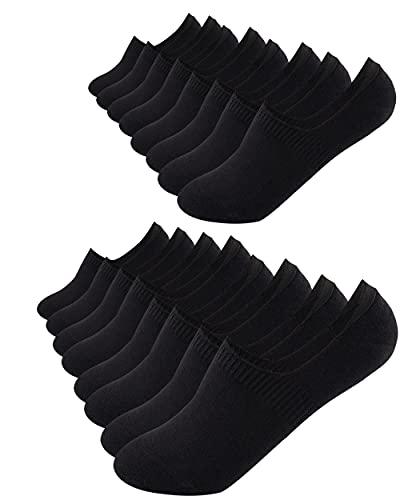 FOOTNOTE I 8 Paar I Unsichtbare Sneaker Socken Footies Füßlinge Invisible Socks mit Silikon Schwarz in 39 40 41 42