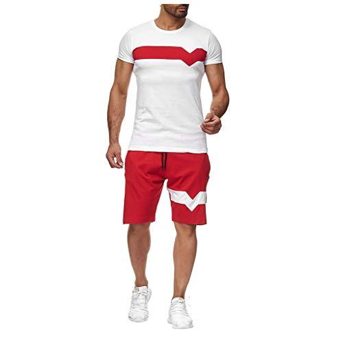 Mens 2Piece Set Abiti Palestra In Esecuzione Vestiti Estate Fitness Abbigliamento Set Tempo Libero Manica Corta Pantaloncini Tute Rosso XL