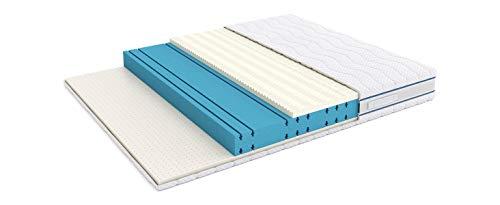Marca Amazon -Alkove - Colchón de triple espuma viscoelástica y látex de doble cara con funda extraíble Sanitized®, 180 x 200 cm