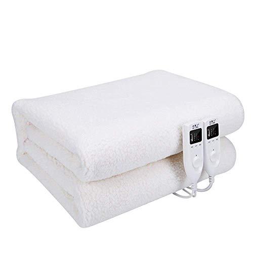 Weiße, waschbare, schnell beheizbare Heizdecken Thermostat mit doppelter Steuerung für mehr Sicherheit Die Warmwasserdecke für den Haushalt (Farbe: weiß Größe: 180 x 200 cm (70,87 x 78,74 Zoll))