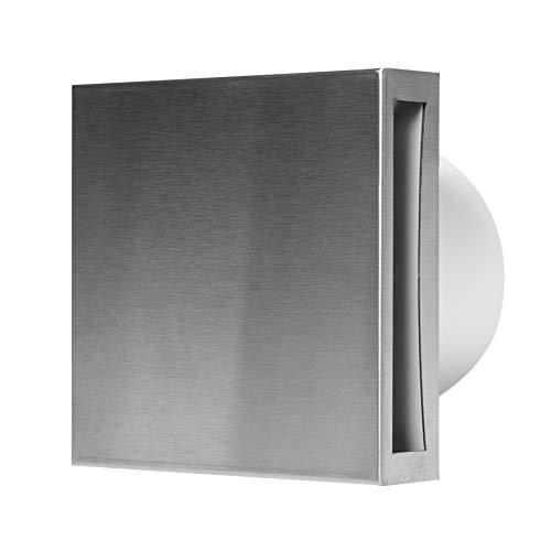 Ventilador de baño de 100 mm de diámetro con sensor de humedad y temporizador, de acero inoxidable frontal, silencioso
