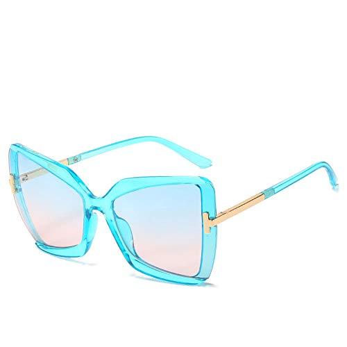 Gafas de sol en forma de T con forma de mariposa, gafas de sol con protección solar de montura grande, gafas para mujer, producto nuevo, tabletas de polvo azul con montura azul