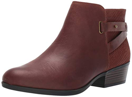 Clarks Women's Addiy Gladys Fashion Boot, Dark Tan Leather, 7.5 M US