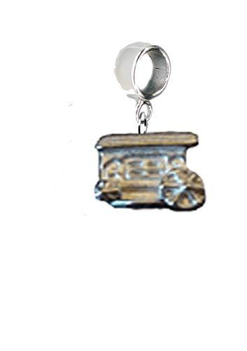 Abalorio tradicional gitano con diseño de caravana de la fortuna de 1,3 x 1 cm, con agujero de 5 mm para adaptarse a la pulsera de abalorios de US regalos para todo el año 2016 de Derbyshire UK