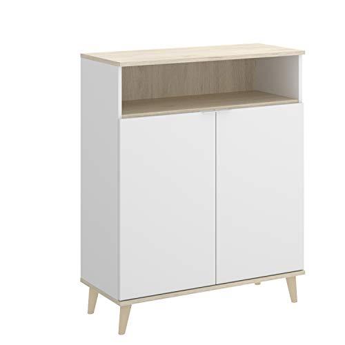 HABITMOBEL Mueble Baño Organizador con Compartimento Cerrado y un Hueco Abierto para Tener Las Cosas de más Uso a Mano.