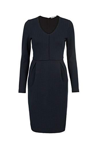 Steps Damen Winona Knielanges Taillierte Jaquard-Jersey Kleid Mit Stretch - V-Ausschnitt Und Taschen - Größe Xs Bis XXL Marineblau, s