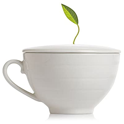 Tea Forte Cafe Cup Porcelain Tea Cup and Lid, Custom Cover Keeps Tea Hot While Steeping