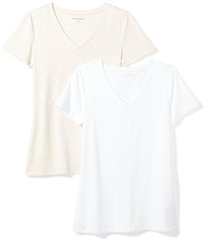 Amazon Essentials Camiseta de manga corta clásico con cuello en V, Mujer, Beige (Avena Jaspeado/Blanco), S, pack de 2