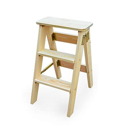 Xiao Jian- inklapbare ladderkruk multifunctionele boeken vouwstoel 3 stappen massief hout keuken stappen hoge 60 cm opvouwbare houten kruk stap kruk