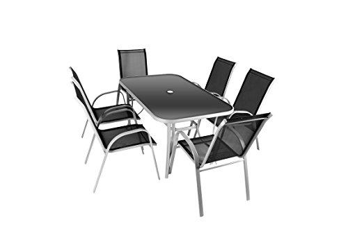 Nexos 7-teiliges Gartenmöbel-Set – Gartengarnitur Sitzgruppe Sitzgarnitur aus Stapelstühlen & Esstisch – Aluminium Kunststoff Glas – schwarz grau