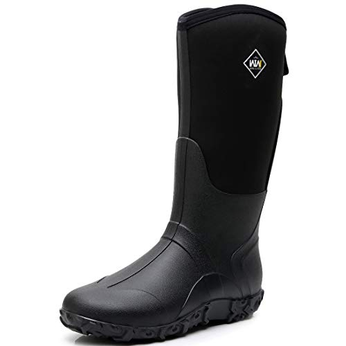 WTW Men's Neoprene Mid Calf Snow Boot Warm Insulation Rubber Rain Boots Black