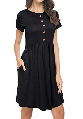 levaca Women Short Sleeve Summer Casual Pockets Loose Swing T Shirt Short Dress Black
